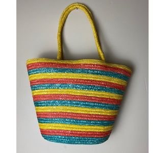 Straw Woven Stripes Large Beach tote bag